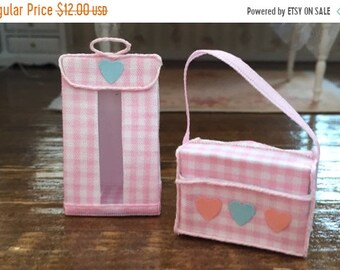 SALE Miniature Baby Diaper Stacker and Diaper Bag, White and Pink Set, Dollhouse Miniatures, 1:12 Scale, Dollhouse Nursery Decor, Accessory