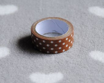 Washi tape masking tape paper coffee color with white polka dots