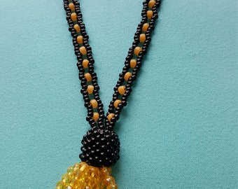 Hufflepuff Crystal Tassel Necklace in Yellow and Black