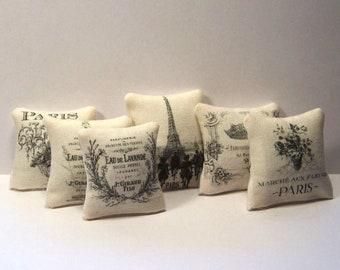 Miniature Decorative Throw Pillows Set 6 Paris France French Dollhouse Diggs