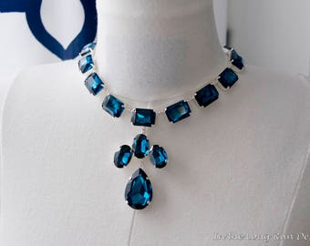18th Century Reproduction Sapphire Queen Anne Collet Necklace.  Blue Rhinestone Paste Glass. Rococo, Colonial, Georgian, Historical.