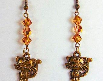 FOR CAT LOVERS, cat earrings, cat jewelry, brass cats, kitten earrings, kitten jewelry, topaz crystals, brass earrings, brass jewelry - 1902