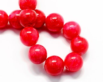 20 Jade Beads 8mm Cherry Red Gemstone Beads 8mm Set of 20 - BD992