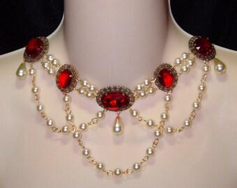 Renaissance Necklace, Medieval Necklace, Tudor, Medieval Jewelry, Renaissance Jewelry, Swarovski, Anne Boleyn Lady Sophie, Ready to Ship