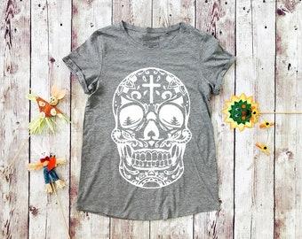 Skull t-shirt for women, shirt with skull, mexican skull shirt, womens shirts, skull tee, skull t-shirt, mexican skull tee, skull shirt