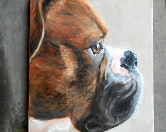 Custom Pet Portrait Painting,  Boxer Art or your dog's breed, Oil Painting Portraits, Animal Art Robin Zebley