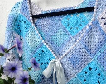 Short Jacket Lilac , Bolero crochet, Summer Jacket. Turquoise and  Lilac. Granny's square