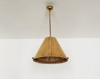 Wonderful Danish mid-century modern brass and Teakwood pendant lamp | 1950 's |