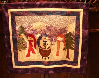 Winter or Christmas Quilt - Quilted Snowmen Snowman with Mountain Scene in Background