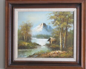 Signed Framed Oil On Canvas Beautiful Natural Landscape Scene