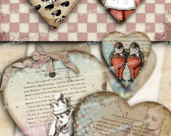 Heart GIFT TAGS Alice in Wonderland Digital Collage Sheet Printable Download Vintage Paper Craft Greeting Cards scrapbook paper Instant