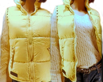 Puffy Vest, Down Vest ,Ski Vest, Winter Vest, Goose down vest - yellow vest -  Size Medium, # 6