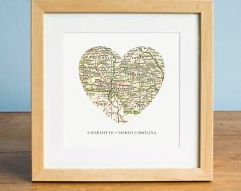 Map of Charlotte NC, Heart Map, Charlotte North Carolina Map Art, Map Art, Valentines Day Gift, Personalized Map Art