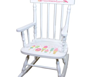 Personalized Girl's White Rocking Chair Vintage Ice Cream Shoppe Candy Store Theme Donut Popsicle Cup Cake Lollipop Nursery spin-whi-331