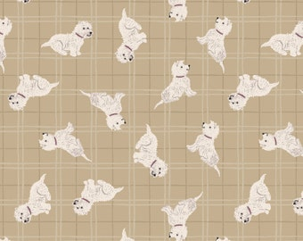Lewis & Irene Patchwork Quilting Fabric A Walk in the Glen - A159.1 Westies on Natural Check