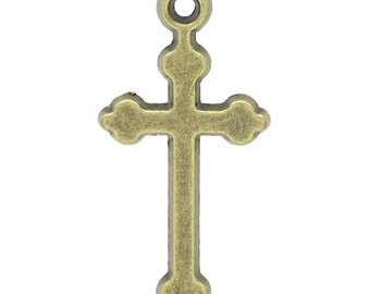 4 Bronze Cross Charms Cross Pendants Baptism Confirmation Gift Jewelry Supply 4285