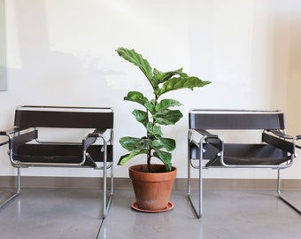 SOLD*** Pair Authentic Knoll B3 by Marcel Breuer in dark brown leather