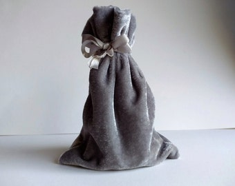 Velvet Drawstring Pouch, 4x6, 6x9, OR 3x4 inches, Pewter Grey Silver, thick plush velvet storage pouch, rosary, jewelry, gift bag, dice bag