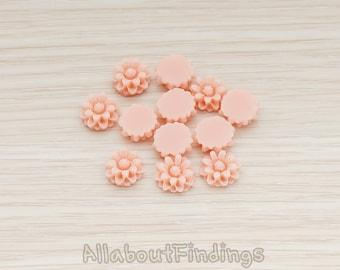 CBC501-PP // Pale Pink Colored Dandelion Flower Back Cabochon, 6 Pc