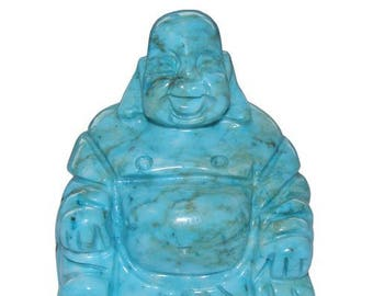 Statuette Chinese laughing Buddha turquoise 5cm