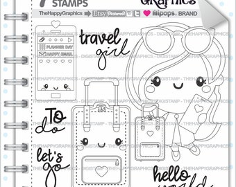 Travel Girl Stamp, 80%OFF, Commercial Use, Digi Stamp, Digital Image, Travel Digistamp, Girl Digital Stamp, Traveling Digistamp, Business