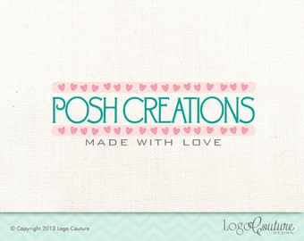 Premade Pink Heart Border Logo  - Posh Creations - Logo for a Small Business - Made With Love