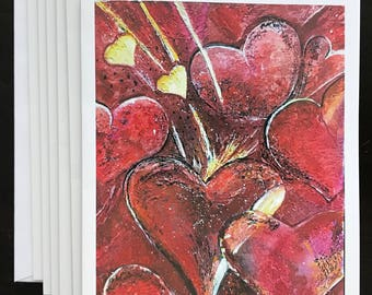 Art Watercolor Print Made Into Valentine Card With Verse Inside Showing Intense Reds & Pink Colors Of Vivbrant Hearts By Janet Dosenberry