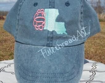 LADIES State Baseball Cap Hat LEATHER strap Monogram Preppy Louisiana South Carolina Texas California Alabama Bachelorette Pigment Dyed