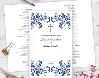 Catholic wedding program template champagne scroll for Catholic wedding mass booklet template