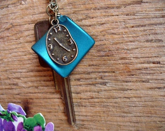 Vintage Key, Deep Teal Stone, and Whimsical Clock Necklace, RePurposed, Key Necklace, UpCycled, Whimsical Clock Charm, MarjorieMae