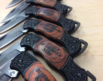 Personalized Knife, Engraved Pocket Knife, Groomsmen Knives, Set of 5, Engraved Knife, Groomsmen Gift Set, Groomsman Knife, Groomsmen Knife