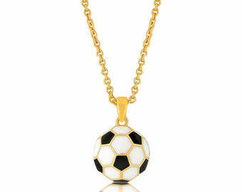 Soccer Necklace, Soccer Ball Pendant Necklace Gold