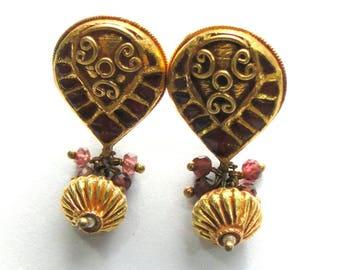 Vintage antique 22K Gold jewelry Ruby Gemstones Earring Pair India