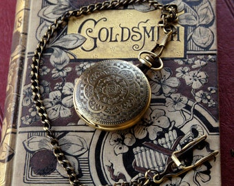 Brass Mechanical Pocket Watch 12 -on Fob or Necklace