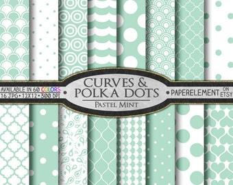 Pastel Mint Polka Dot Digital Paper - Printable Mint Geometric Paper with Light Mint Quatrefoil Pattern Scrapbook Background