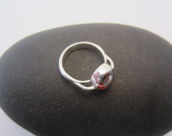 sterling silver and red bubble glass ring
