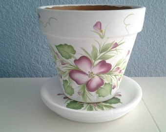 "Hand painted Flower Pot  & Matching Saucer: 6"" in Dogwood  Design *Think Spring*Easter*Mother's Day*Hostess*Gardener Gift"