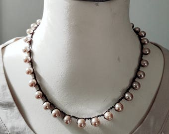 Pearl Crochet Necklace Smoke on Brown
