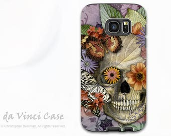 Butterfly Sugar Skull Galaxy S7 EDGE Case - Premium Dual Layer case for Samsung Galaxy S 7 EDGE  with Art - Butterfly Botaniskull
