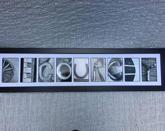 Alphabet photography name sign -Framed 9 letter last name sign - Picture name sign - Custom name sign - Letter art - Alphabet photos