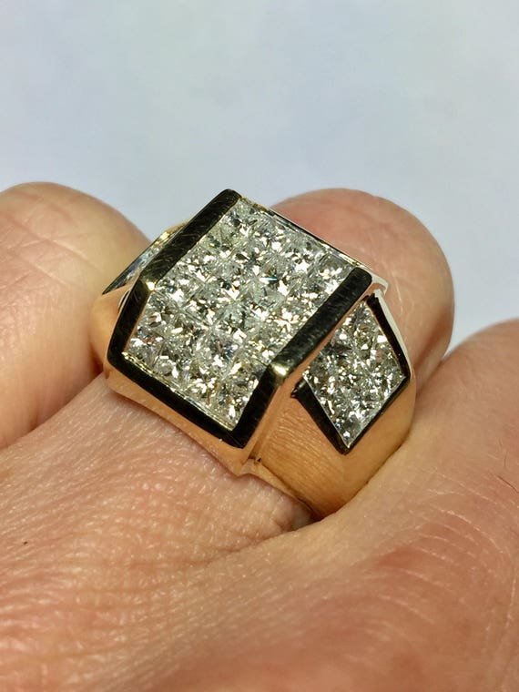 Big Sale 14k gold Mens Diamond Ring Men Invisible Set