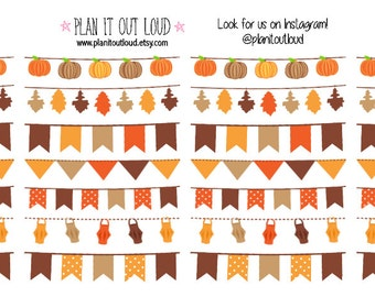 Fall Harvest Banner Stickers (planner Stickers)