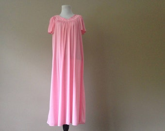 S /  Pink Nylon Nightgown by Miss Elaine / Small / FREE USA Shipping