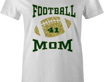 FOOTBALL WOMENS T-shirt High Schoo green gold sweatshirt Personalized Football Shirt Custom Sport Tshirt bling Game glitter mom 