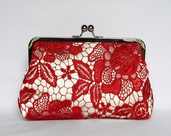 Red and Ivory Lace Clutch, Clutch bag, Red Lace Clutch, Wedding Clutch, Evening Clutch, Bridesmaids Clutch, Bridesmaids Gifts
