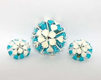 Vintage Blue & White Floral Enamel Brooch and Earrings Set - Enamel Jewelry - Flower Brooch Earrings - Vintage Jewelry