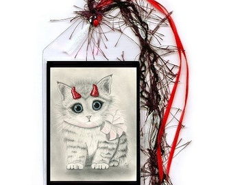 Cute Devil Kitten Bookmark Red Horns Devil Cat Bookmarker Big Eye Art Fantasy Cat Art Mini Bookmark Cat Lovers Gift