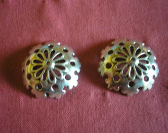 Large jagged pattern silver metal flower cups