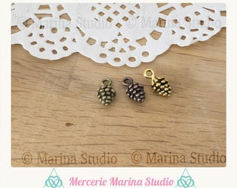 2 sets 3 bronze, copper and gold 15mm Pine Cone charms