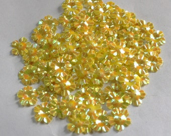 100 Glossy / Rainbow Effect/  Yellow Color /Flower sequins/ Code KBSF669